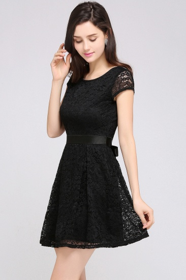 Affordable Black Lace Short-Sleeves Junior Bridesmaid Dresses In Stock_14