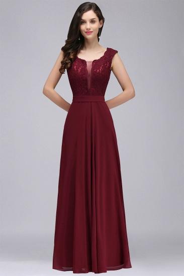 BMbridal Elegant Lace A-line Long Burgundy Prom Dress_11