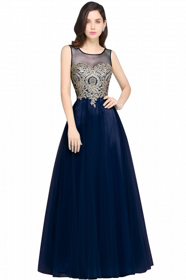 BMbridal Gorgeous Illussion Scoop Long Prom Dress With Lace Appliques_5