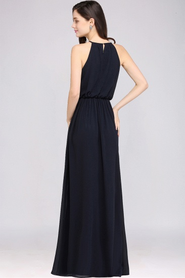 Simple A-line Halter Navy Chiffon Long Bridesmaid Dresses In Stock_8