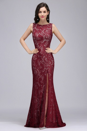 BMbridal Crew Front-split Backless Prom Dress Sweep-train Sleeveless Burgundy Lace Mermaid Evening Dress