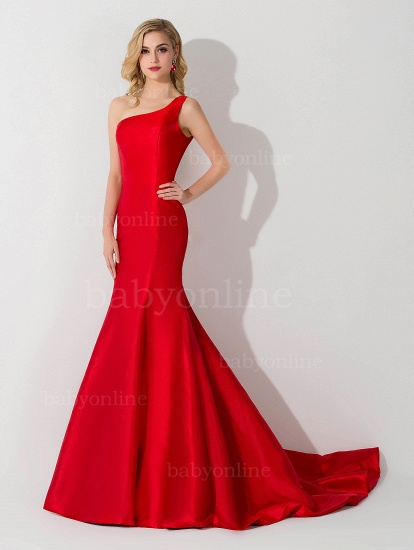 BMbridal One Shoulder Red Mermaid Long Party Gowns_6