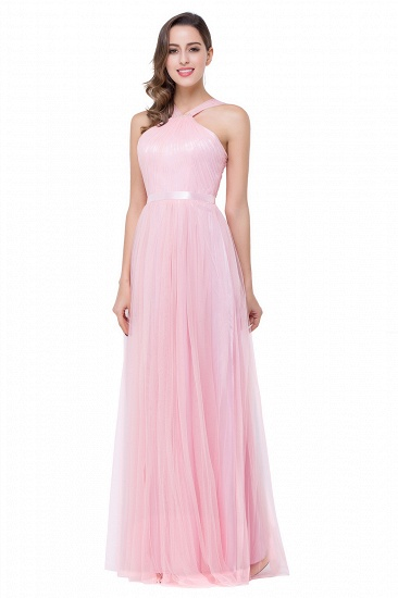 BMbridal Sheath Pink Tulle Ribbon Sash Simple Bridesmaid Dress_4