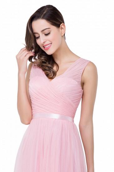 BMbridal A-line Ruffled Tulle Sleeveless Ribbon Sash V-neck Bridesmaid Dress_13