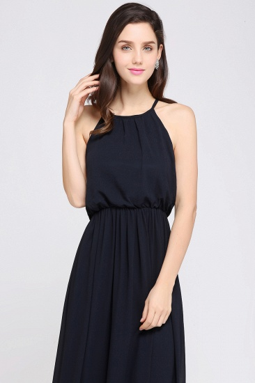 Simple A-line Halter Navy Chiffon Long Bridesmaid Dresses In Stock_12