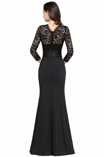 BMbridal Chic Sheath High Neck Black Bridesmaid Dress with Lace In Stock_6
