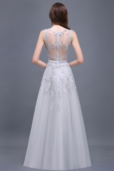 BMbridal A-line Floor-length Tulle Prom Dress with Appliques_11