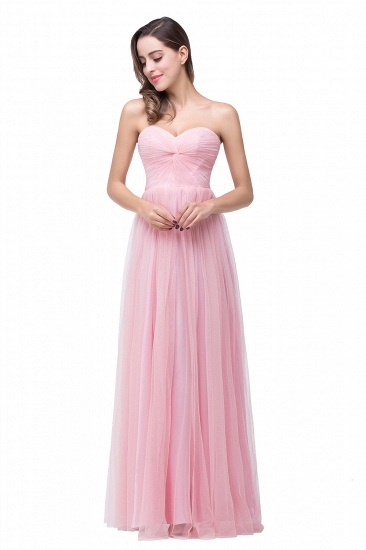 A-line Tulle Sweetheart Ruffle Pink Bridesmaid Dress