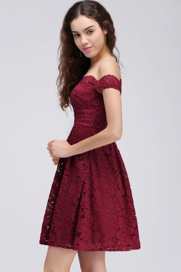 BMbridal A-Line Off-the-shoulder Short Burgundy Lace Homecoming Dress_4