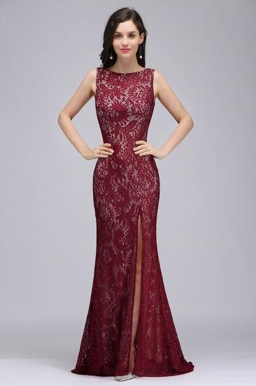 BMbridal Crew Front-split Backless Prom Dress Sweep-train Sleeveless Burgundy Lace Mermaid Evening Dress_1