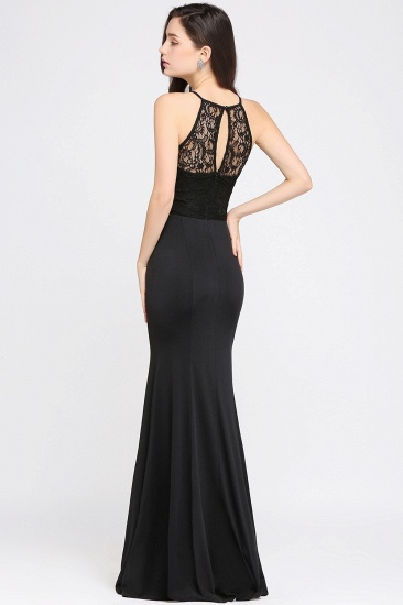 BMbridal Sexy Mermaid Chiffon Halter Long Black Bridesmaid Dresses In stock_5