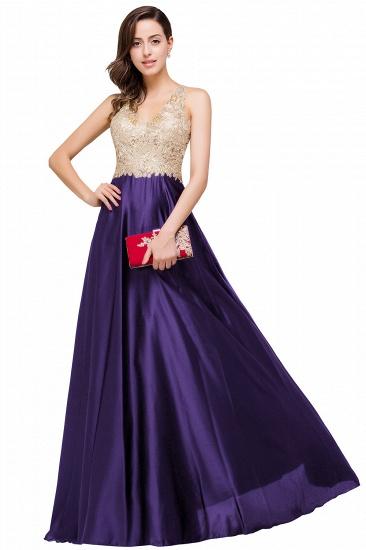 BMbridal V-neck Satin Floor-Length A-Line Appliques Backless Prom Dress_2