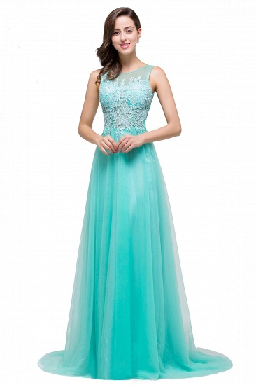 BMbridal A-line Court Train Tulle Evening Dress with Appliques_13