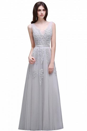BMbridal V-Neck Sleeveless Lace Appliques Bridesmaid Dress_12