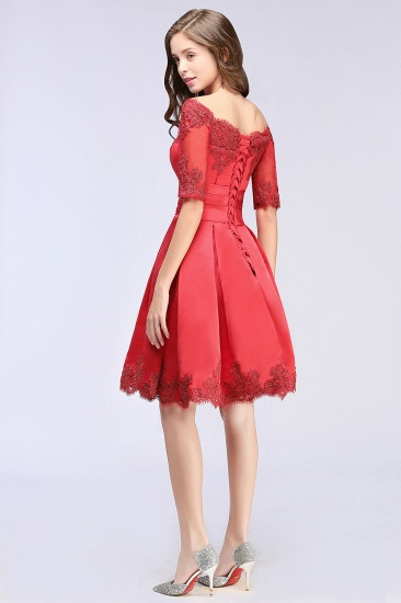 BMbridal Chic Half Sleeve Lace-up Off-shoulder Lace Appliques Short Prom Dress_7