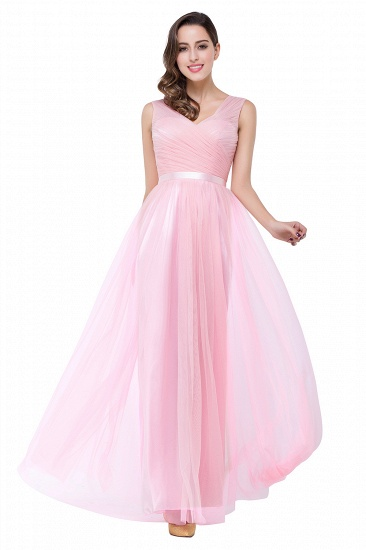 BMbridal A-line Ruffled Tulle Sleeveless Ribbon Sash V-neck Bridesmaid Dress_9