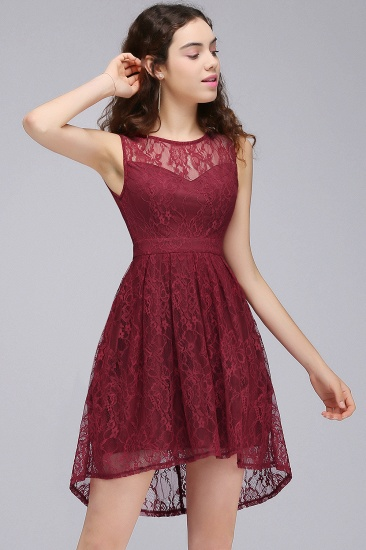 BMbridal A-Line Round Neck Short Lace Burgundy Homecoming Dress_5