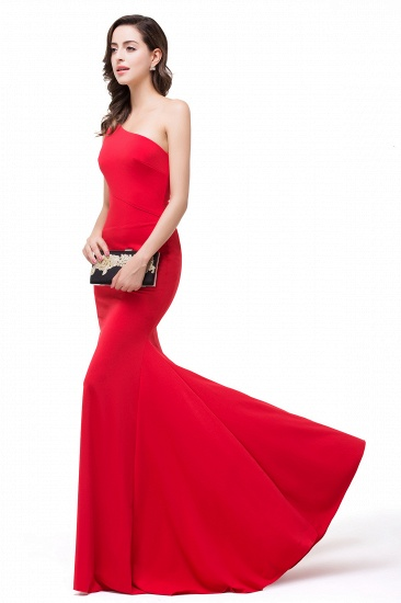 BMbridal Red One-Shoulder Floor Length Mermaid Prom Dress_5
