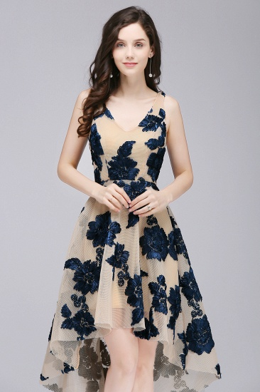 BMbridal Short Appliques Tulle V Neck Prom Dress_2