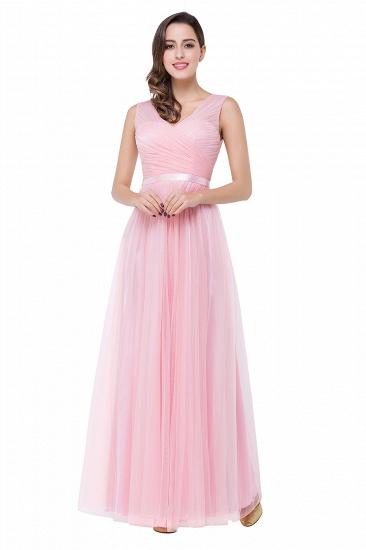 BMbridal A-line Ruffled Tulle Sleeveless Ribbon Sash V-neck Bridesmaid Dress_4