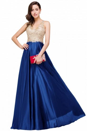 BMbridal V-neck Satin Floor-Length A-Line Appliques Backless Prom Dress_3