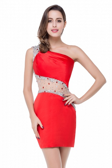 BMbridal Crystal Beading One-shoulder Short Mermaid Prom Dress