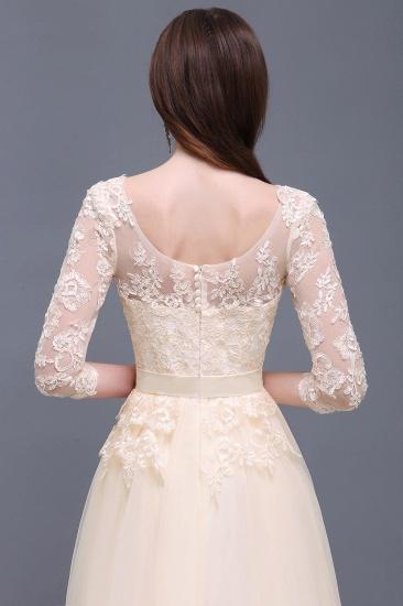 BMbridal Lace Appliques Split Long Tulle Prom Dress_9