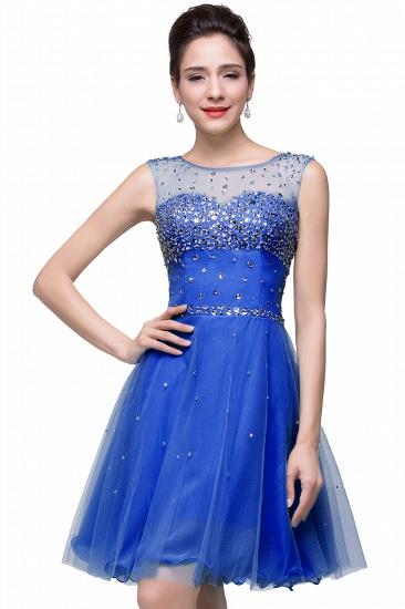 BMbridal Open Back Sleeveless Chiffon Homecoming Dress Crystal Beads Tulle Short Prom Dress_5