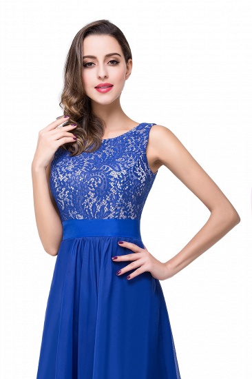 Exquisite A-line Chiffon Royal Blue Bridesmaid Dress with Lace In Stock_11