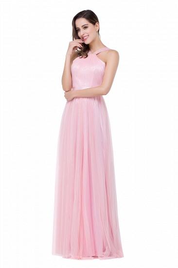 BMbridal Sheath Pink Tulle Ribbon Sash Simple Bridesmaid Dress_5