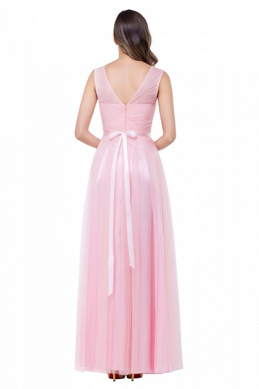 BMbridal A-line Ruffled Tulle Sleeveless Ribbon Sash V-neck Bridesmaid Dress_5