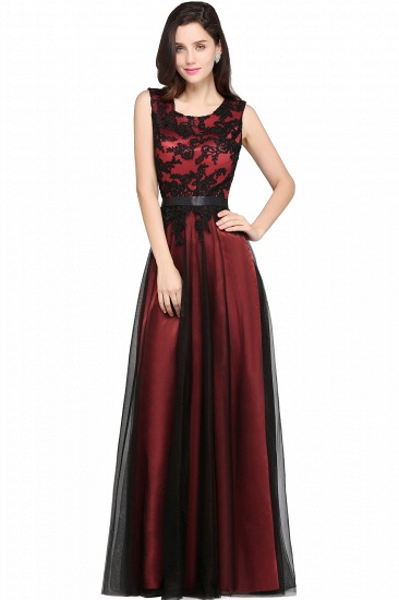BMbridal Pretty Sleeveless Black Lace Tulle Floor Length Formal Evening Dress with Sash_2