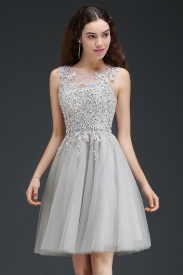 BMbridal Newest Lace Appliques Silver Jewel Sleeveless Short Homecoming Dress_5