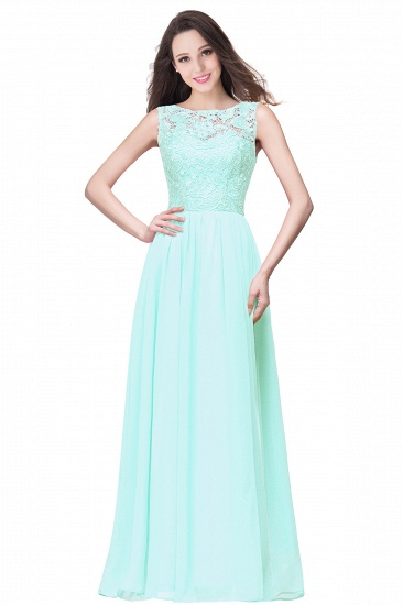 BMbridal Affordable A-line Chiffon Crew Lace Navy Long Bridesmaid Dresses In Stock_9