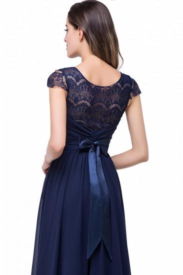 BMbridal A-line Ruffles Ribbon Bow Capped Lace Chiffon Bridesmaid Dress_12