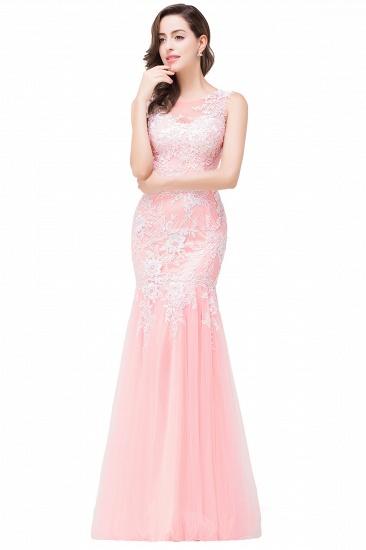 BMbridal Elegant Pink Long Lace Mermaid Prom Dress Sleeveless