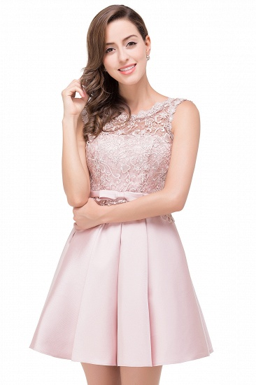 BMbridal A-line Knee-length Satin Homecoming Dress with Lace_7