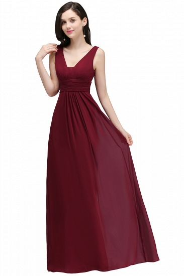 BMbridal Affordable Burgundy Chiffon Long Burgundy Bridesmaid Dress In Stock_4