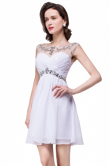 BMbridal A-line Jewel Chiffon Party Dress With Crystal_11
