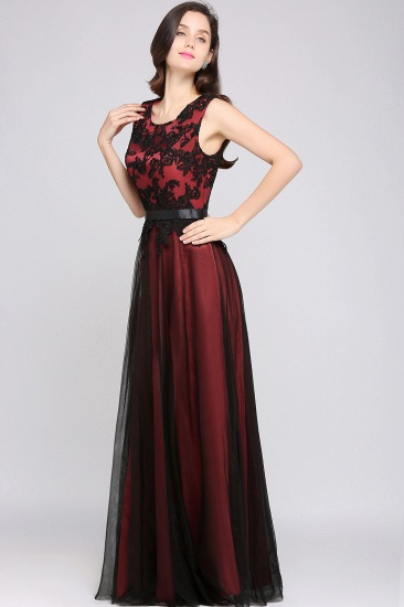 BMbridal Pretty Sleeveless Black Lace Tulle Floor Length Formal Evening Dress with Sash