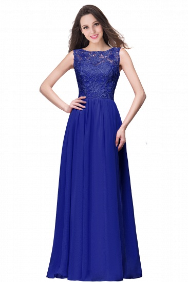 BMbridal Affordable A-line Chiffon Crew Lace Navy Long Bridesmaid Dresses In Stock_5