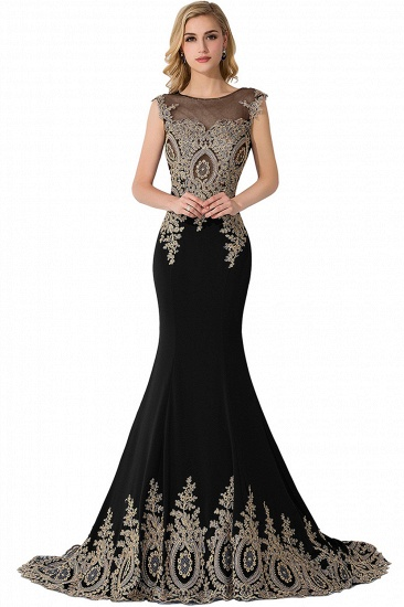 BMbridal Mermaid Court Train Chiffon Evening Dress with Appliques_6