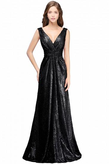 BMbridal Elegant A-line Open Back Sequins Sleeveless V-neck Evening Dress_1