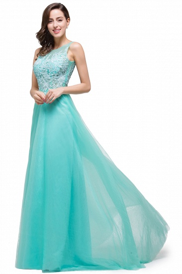 BMbridal A-line Court Train Tulle Evening Dress with Appliques_12