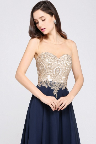 BMbridal Sheer Tulle A-line Chiffon Beads Lace Appliques Sleeveless Long Evening Dress_7