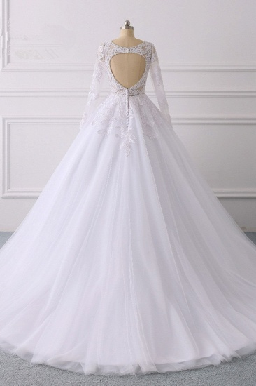 BMbridal Elegant V-Neck Long Sleeves Wedding Dress White Tulle Lace Appliques Bridal Gowns On Sale_3
