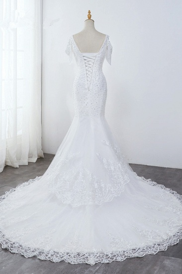 Sparkly Sequined V-Neck Cold-Shoulder White Wedding Dress White Mermaid Lace Appliques Bridal Gowns On Sale_3