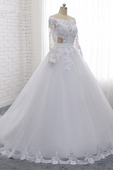 Stylish Off-the-Shoulder Long Sleeves Wedding Dress Tulle Lace Appliques Bridal Gowns with Beadings On Sale_4