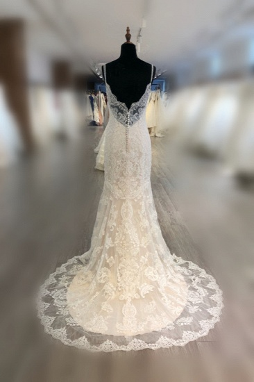 BMbridal Elegant Spaghetti Straps Mermaid Wedding Dress Tulle Lace Appliques V-Neck Bridal Gowns Online_3
