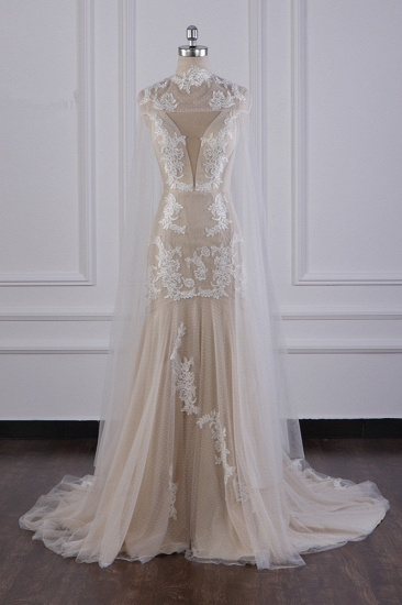 Chic High-Neck Tulle Champagne Wedding Dress Mermaid Sleeveless Appliques Bridal Gowns Online_2